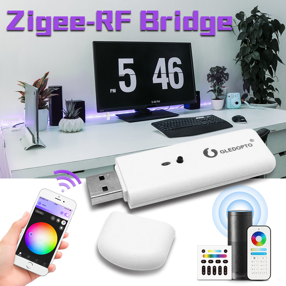 Gledopto Smart Zigbee-RF Bridge Convert RF Signals Into Zigbee Signals Work With Zigbee Gateway Phone App Control Voice Control