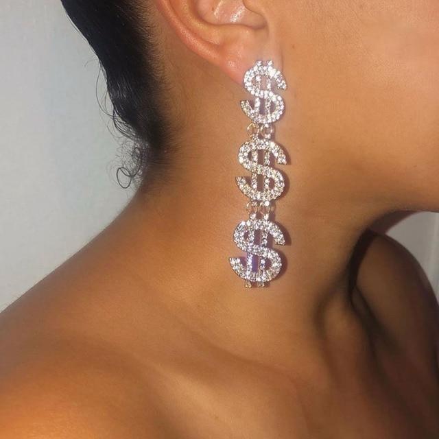 Dollar Signs Crystal Earrings 6