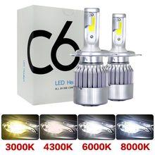 2 предмета в комплекте C6 головной светильник H4 светодиодный Автомобильный светодиодный налобный фонарь H11 H8 H3 туман светильник 9005 HB3 9006 HB4 ла...