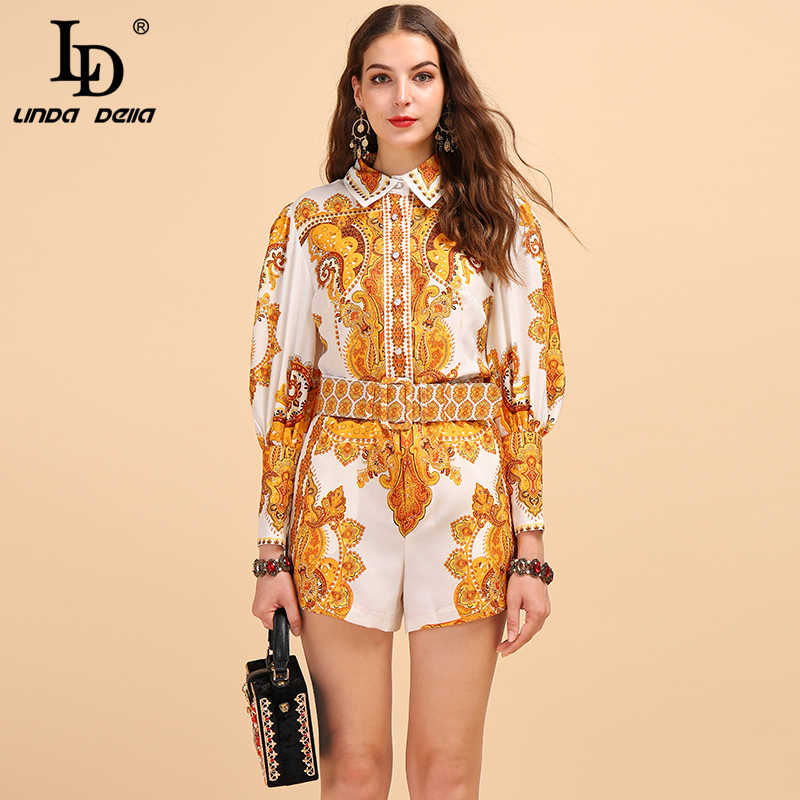 LD LINDA DELLA Fashion Runway Autumn Suit Women's Lantern Sleeve Printed Shirt And Vintage High Waist Shorts Two Pieces Lady Set