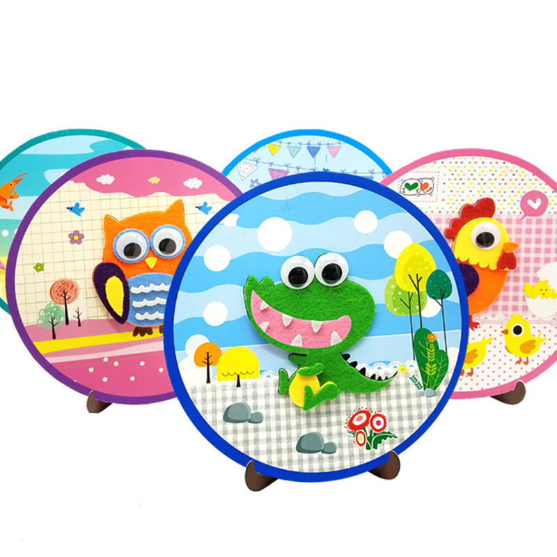 DIY Non-woven Stickers Circular Handmade Paste Painting Children's Art Toys Parent-child Cartoon Animals Materials Package 5PCS