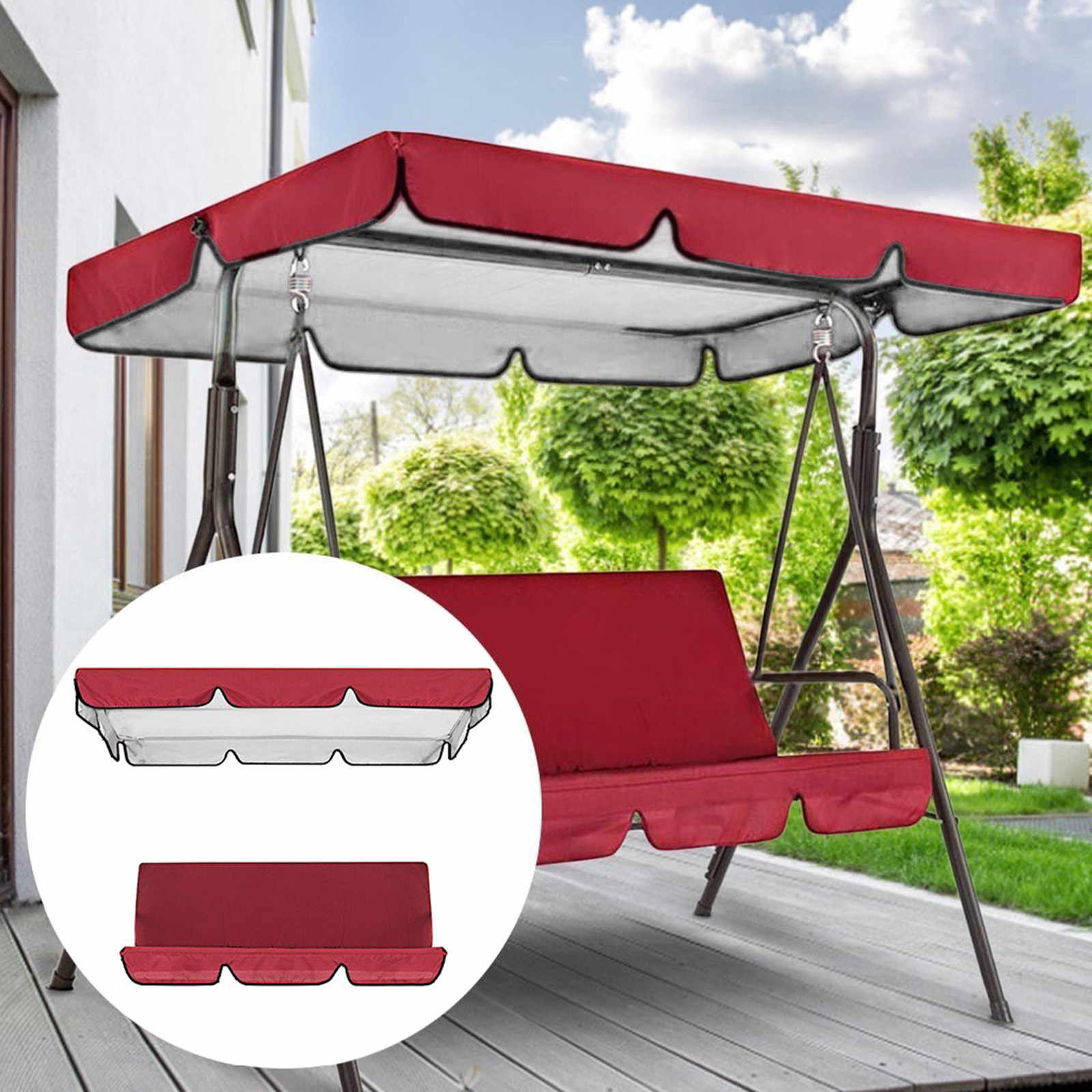 Patio Swing Canopy Replacement Top Cover Premium Waterproof Porch Swing Cover with Canopy Outdoor Garden Swing Top Dustproof Cover for Courtyard Sun Shade Red Top Cover Only
