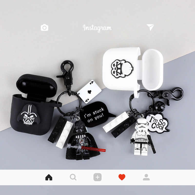 Star Wars Jedi Knight Darth Vader Anakin Skywalker brelok silikonowe etui do Apple Airpods bezprzewodowy zestaw słuchawkowy Bluetooth słuchawki pokrywa