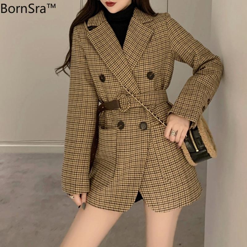 BornSra Korean Plaid Women Work Blazer Jacket 2020 Casual Double-breasted Sashes Suit Jacket Female Slim Female Blazer Outwear