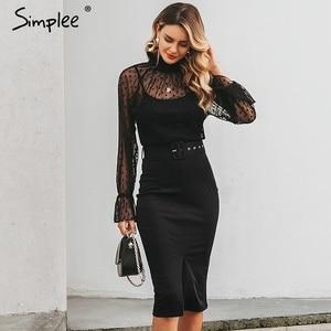 Image 5 - Simplee 섹시한 줄무늬 레이스 여성 드레스 블랙 폴카 도트 벨트 칼집 파티 드레스 퍼프 슬리브 가을 겨울 사무실 숙녀 드레스