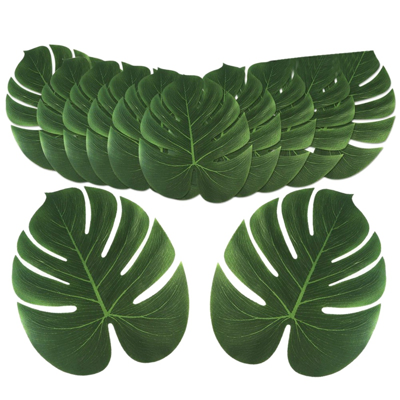 12Pcs/Lot Artificial Palm Leaves Tropical Hawaiian Party Jungle Beach Theme Party Table Decoration Accessories Decor