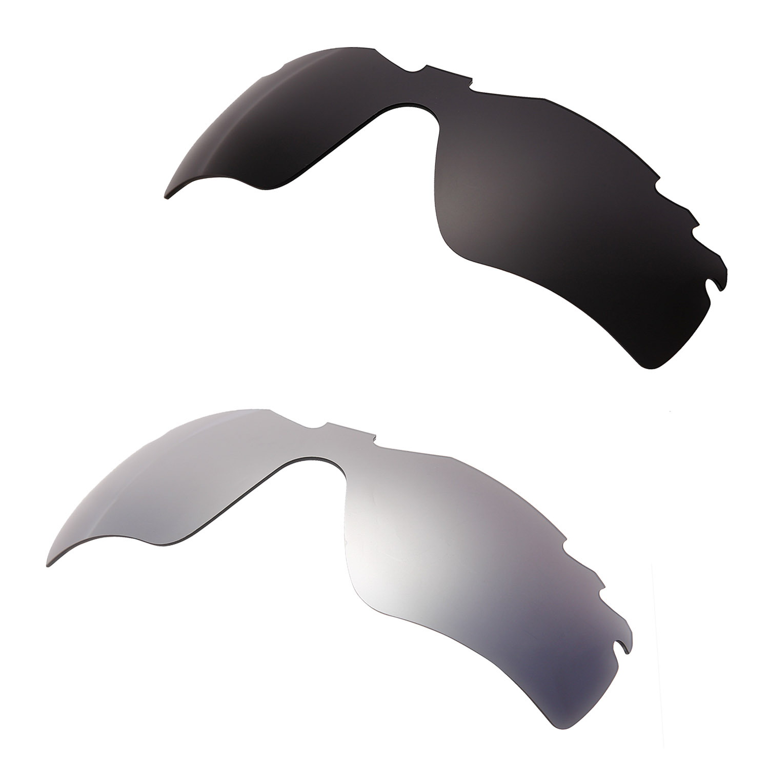 HKUCO Black/Silver 2 Pairs Polarized Replacement Lenses For Radar Path-Vented Sunglasses Increase Clarity