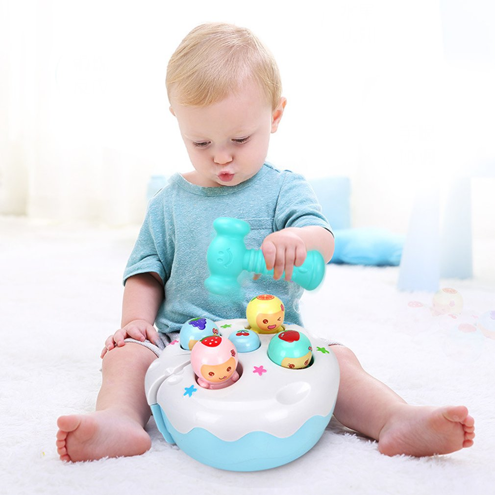 Handheld Whack-a-mole Game Machine Electric Hamster Baby Toy Sound Light Fruit Cake Knocking Hamster Music Game Educational Toy