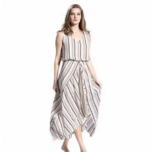 Slim Elegant Office Lady Dress Sleeveless Vintage Instagram Fashion Stripe Woman Clothing Vogue V-neck Dresses Streetwear 2019