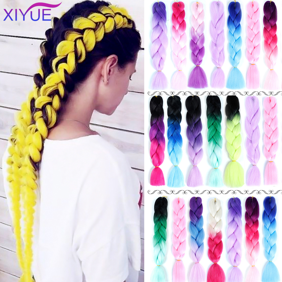 Pink Purple Blue Color Synthetic Jumbo Crochet Braids Ombre Braiding Hair Extension Headbands Hair Accessories 64 Colors 24 Inch