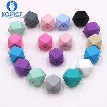 Kovict – perles hexagonales en Silicone, 17mm, 10 pièces, de qualité alimentaire, pour bébé, Dentition pour fabrication de collier, rongeur