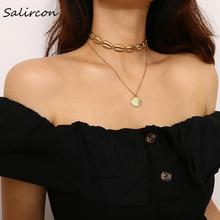 Salircon Fashion Punk Shell Long Chain Necklace Gold Silver Alloy Scallop Pendant Lucky Jewelry Female Woman Party Gift