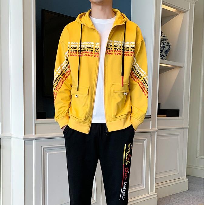 2020 Spring Autumn Men Sportswear 2 Piece Set Sporting Suit Jacket+Pant Sweatsuit Men Clothing Tracksuit Men Set New Men's Set