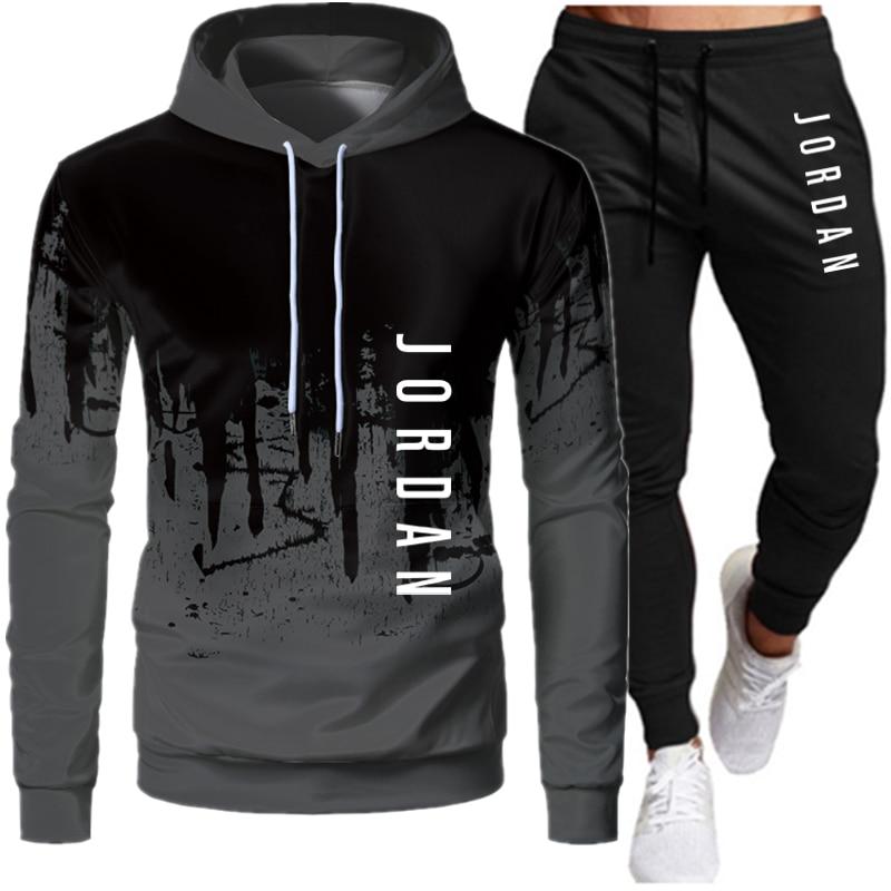 2 조각 세트 Tracksuit 남자 두건이있는 운동복 + 바지 풀오버 Hoodie Sportwear 한 벌 Ropa Hombre 우연한 남자 옷 크기 S-4XL