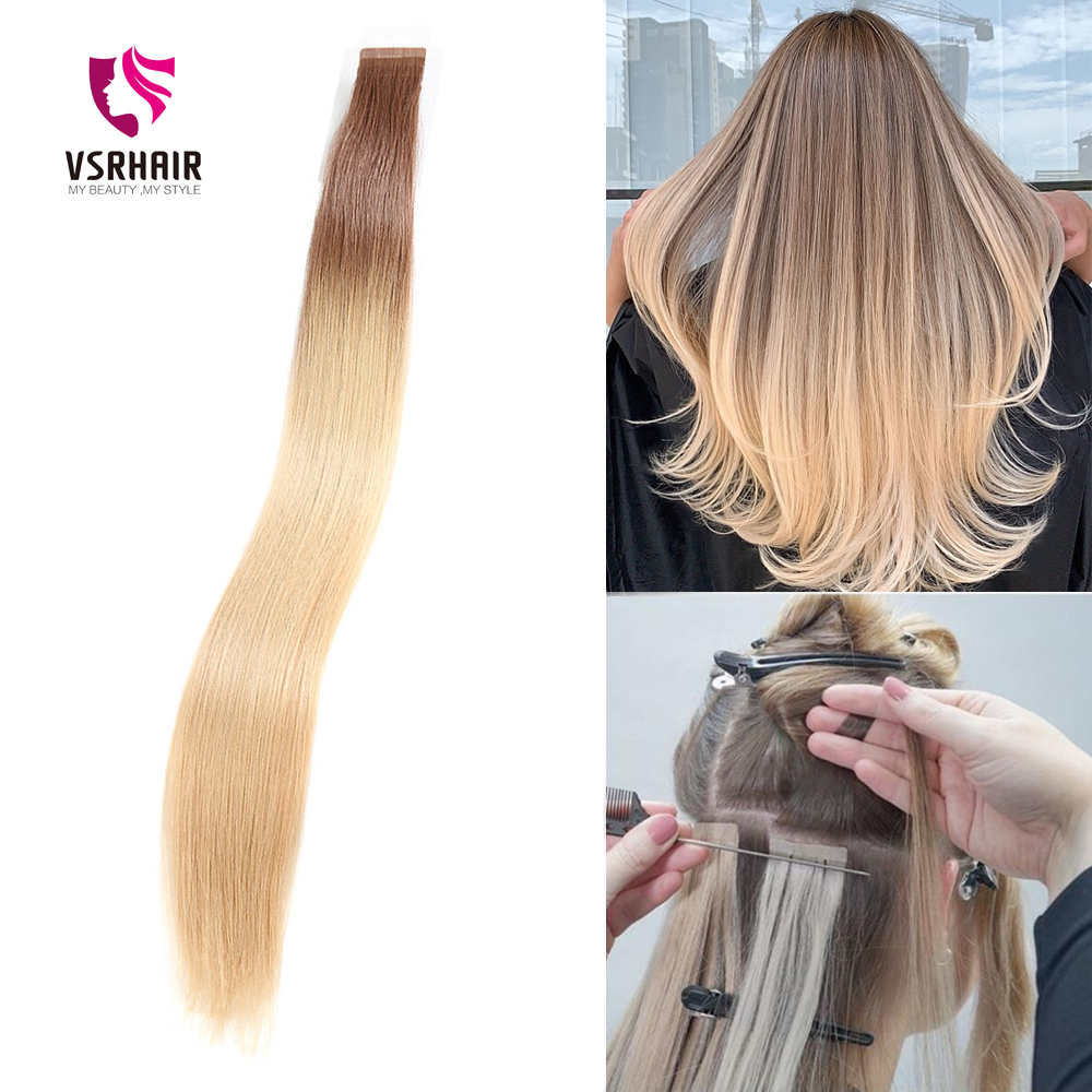 VSR Pure Remy Tape In Human Hair Extensions Ombre Color Seamless Blonde Indian Hair Extension