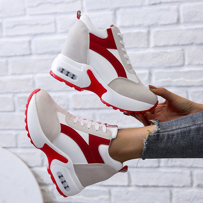 Women Platform Vulcanized Shoes Ladies Lace Up Casual Light Suede Shoes Woman Fashion Sneakers Female Ankle Heel Footwear 2020 3