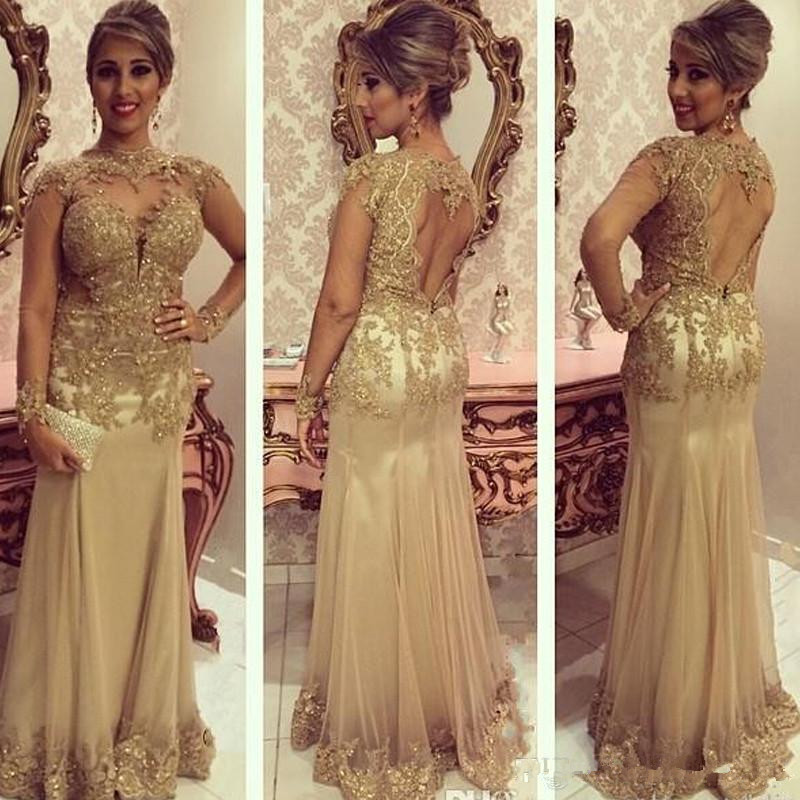 Gold Mermaid Mother Of The Bride Dresses Illusion Beading Open Back Prom Dress Long Sleeve Lace Appliques Formal Evening Gown