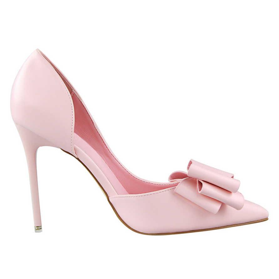 2020 Fetish Donne 10 centimetri Tacchi Alti Pompe Femminile Elegante nodo Della Farfalla Scarpins Scarpe Tacchi Punta A Punta Fetish Rosa Blu scarpe