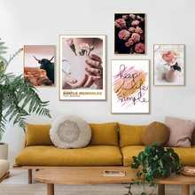 Animal Vase Rose Peony Flower Nordic Poster Painting Living Room Canvas Sofa Background Wall Art Pictures