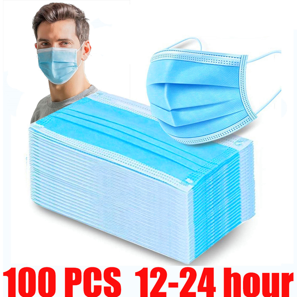 Ali Face Mouth Anti Dust Disposable Mask Protect 3 Layers Filter Dustproof Earloop Non Woven Mouth Mask 12-24 Hours Shipping