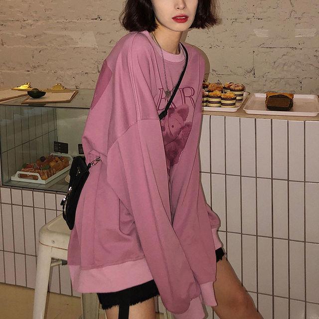 Women hoodie Big bear Pattern furry Hoodie Winter Warm Plush sweet Pullovers Woman Vintage korean Style loose Sweatshirt kawaii 6