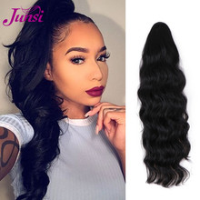 JUNSI Long Wavy Black Ponytail Synthetic Hairpiece Wrap on Clip