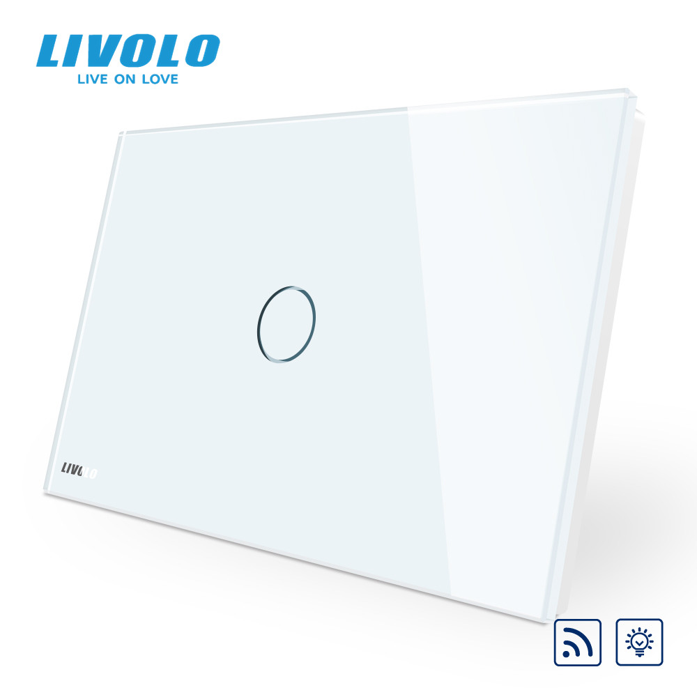 Livolo US Standard Dimmer Wireless Switch, crystal Grey glass,remote switch screen light switch+LED indicator,dim with memory