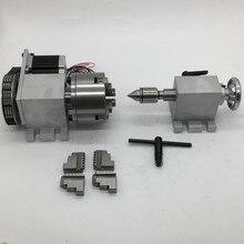4 оси вращения ось удлинения вращения 4 Челюсти 100 мм K12-100 патрон и Nema23 мотор и MT2 задняя штока для дерева, металла, пластика фрезерования с ЧПУ