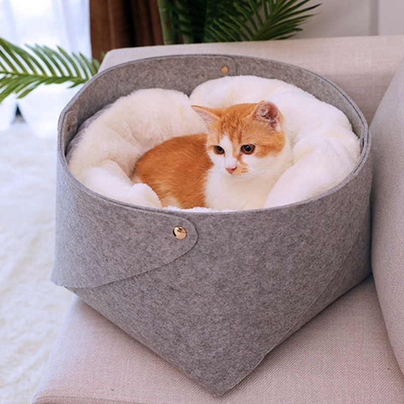 Round Plush <font><b>Cat</b></font> <font><b>Bed</b></font> <font><b>House</b></font> <font><b>Cat</b></font> Mat Winter Warm Sleeping <font><b>Cats</b></font> Nest Soft Long Plush Dog Basket Pet Cushion Portable Pets Supplies image