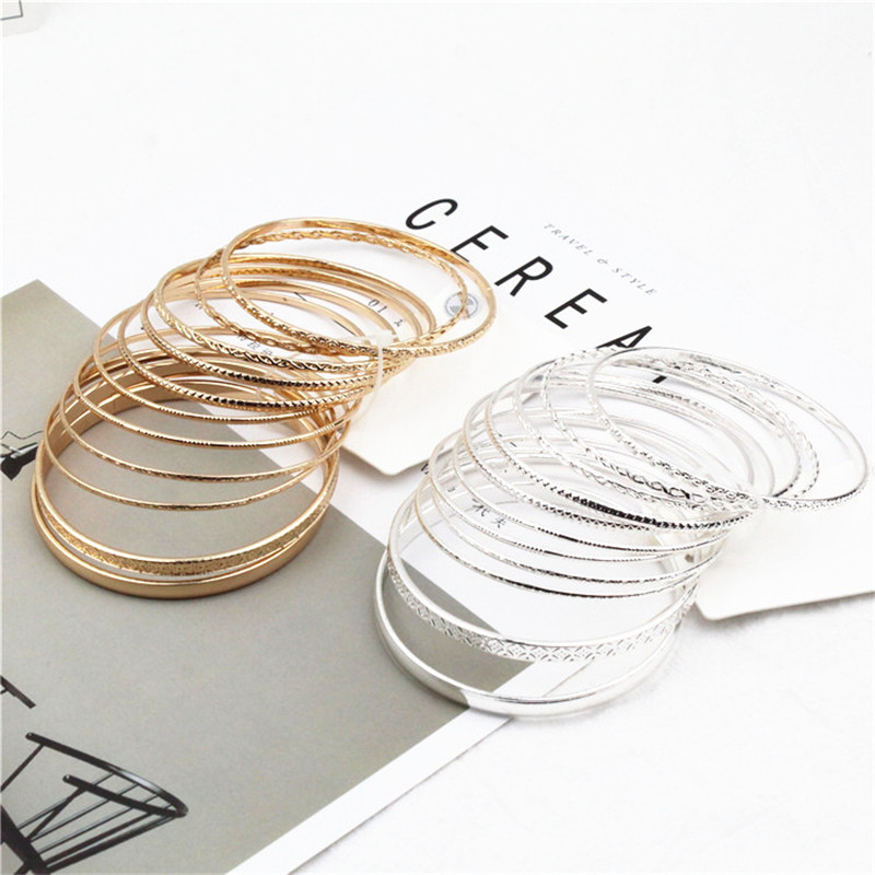 Retro Style Trendy 11Pcs/Sets Gold-colour Bangles Bracelets Set For Women Circle Metal Wire Indian Bangle Jewelry Party Gifts
