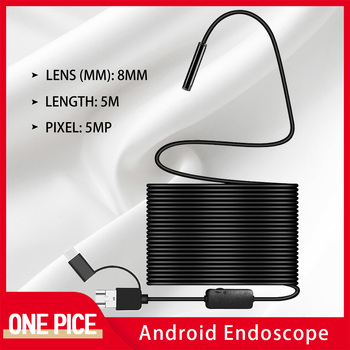 5M 8mm 5MP HD Endoscope Flexible IP67 Waterproof Inspection Borescope Camera for Type-C USB Android PC Notebook 6LEDs Adjustable 720p 8mm lens type c usb endoscope borescope tube ip67 waterproof inspection endoscope mini camera for android phone windosw pc
