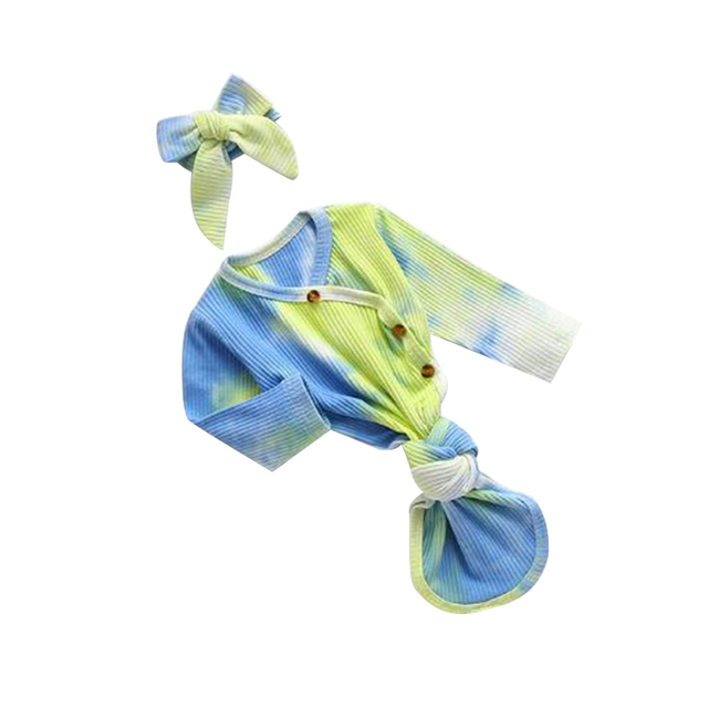 0-12M infantile nouveau-né bébé côtelé sac de couchage à manches longues barboteuse, automne col en V boutons tricot colorant imprimé vêtements bandeau