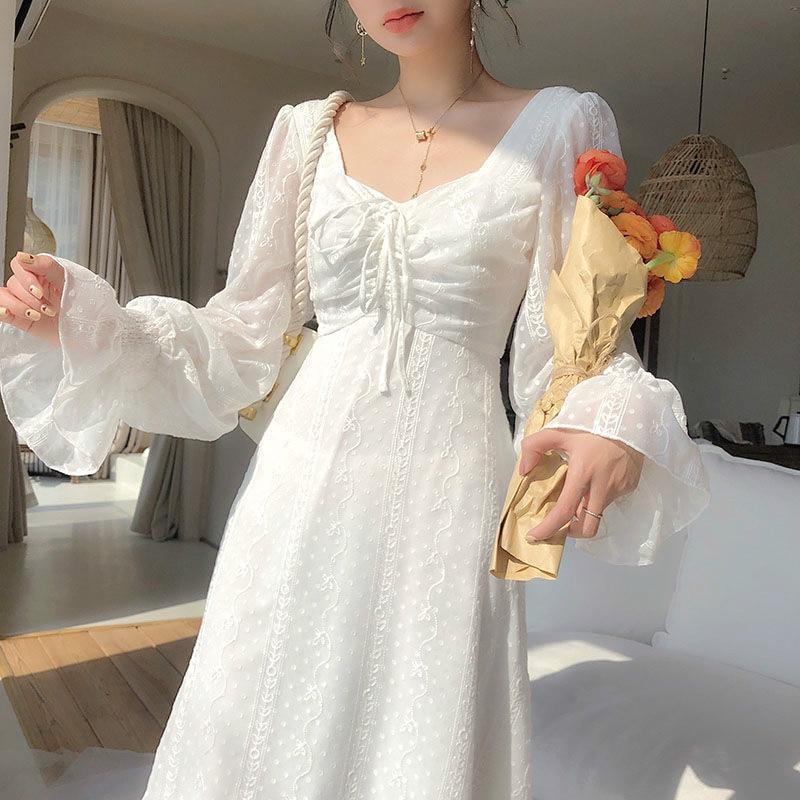 2271.0¥ 45% OFF|Vintage Fairy Dress Women Elegant Designer Chiffon Dress Long Sleeve French Party M...