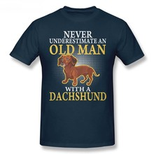 Economical Shirt For Men And Women Clothes Loose Harajuku T Shirt Old Man With A Dachshund Shirts Casual T Shirt