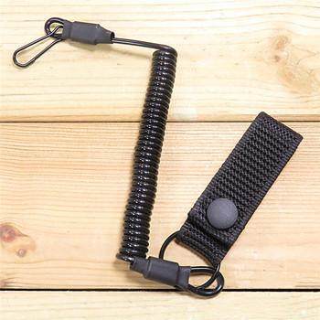 Tactical Anti-lost elastyczna smycz liny wojskowe wiosna pas bezpieczeństwa pistolet liny na brelok do kluczy latarka akcesoria myśliwskie tanie i dobre opinie CN (pochodzenie) Batik Stałe summer Winter AUTUMN Black Secure Rope Key Ring Flashlight Anti-lost Lanyard Convenient Spring