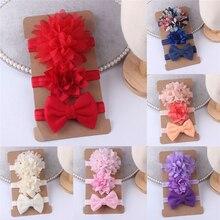 3шт / комплект детские волос группа фото аксессуары новорожденных эластичный цветок лук оголовье головной убор подарок детям