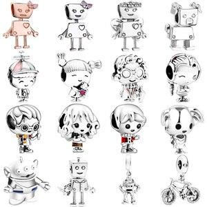 Robot Dog Boy Girl s925 Sterling Silver Pendant European Charms Bead Fit Original Charms Bracelet Chain Women Jewelry Making