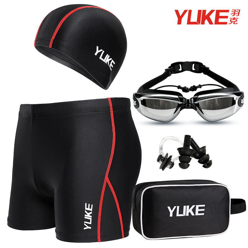 Swimming Trunks Men's Equipment Fashion Models Adult Men Loose-Fit Hot Springs Beach Swimming Trunks Swimming Goggle Set Men's S
