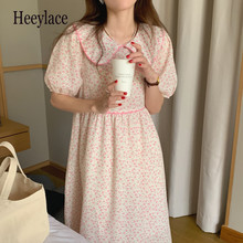 Elegant Retro Short Sleeves Chic Femme 2021 Streetwear Girls Florals Printed Party Sweet Summer Women Dresses Vestidos