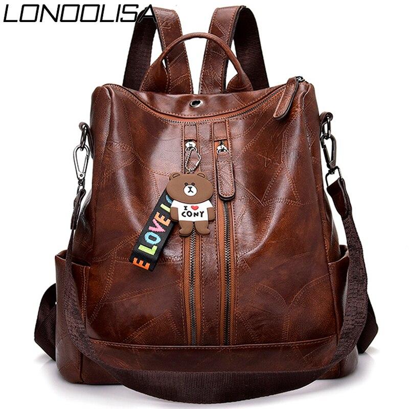 Cute Bear Multifunction Women PU Leather Backpack Double Zipper Travel Backpack For Teenage Girls Shoulder Bags For Women Sac