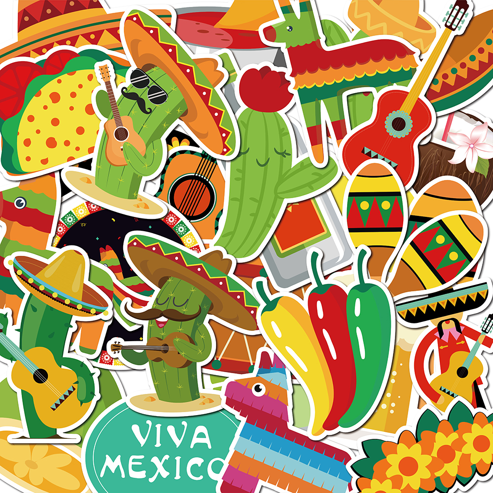 30pcs Mexico Cactus Stickers Cinco De Mayo Party Decorations Día De Muerto Party Stickers Waterproof Luggage Skateboard Stickers