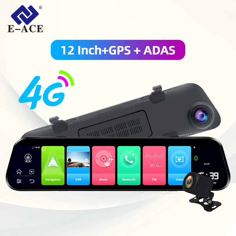 E-ACE D14 <font><b>Dvr</b></font> Android 4G Stream Rear View <font><b>Mirror</b></font> Navigation ADAS <font><b>Car</b></font> Camera 12 Inch <font><b>Mirror</b></font> <font><b>dvr</b></font> FHD Video <font><b>Recorder</b></font> Auto Registrar image