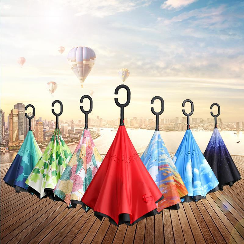 Umbrella Customizable Long Handle Hands-Free Reverse Umbrella Customizable Logo Parasol Double Layer C Type Rain Or Shine Busine