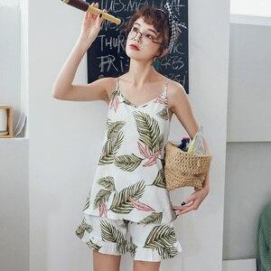 Image 4 - Bzelホット販売pijamas女性かわいいツーピースセットパジャマ新夏のスタイリッシュな女性のパジャマ綿パジャマビッグサイズ寝間着3XL