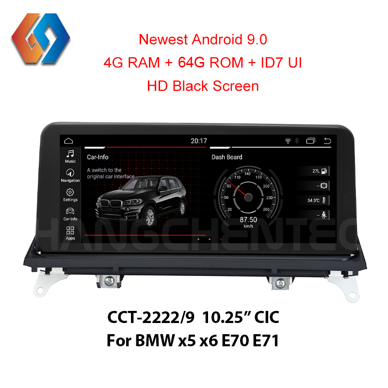 New Come Android 9.0 64G rom Black Screen for BMW x5 x6 E70 E71 CIC Built-in CarPlay Function Bluetooth WiFi Car GPS Multimedia