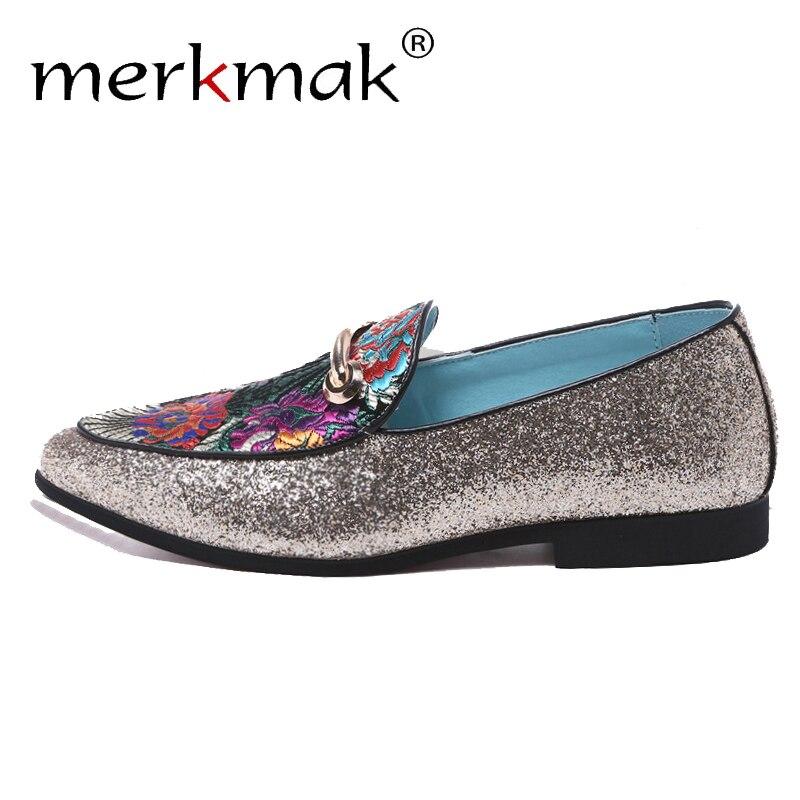 Merkmak Casual Shining Men Loafers Summer Classic Embroidery Pattern Dress Shoes Footwear Big Size 38-48 Comfortable Man Flats
