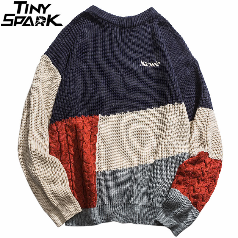 Men Hip Hop Pullover Sweater Streetwear Harajuku Retro Color Block Patchwork Knitted Striped Sweater Autumn 2019 Sweater Cotton