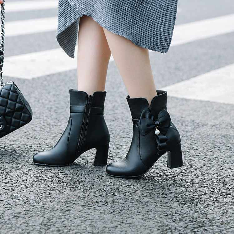 Große Größe 9 10 11 12 stiefel frauen schuhe stiefeletten für frauen damen stiefel schuhe frau winter Seite zipper mit bogen perle anhänger