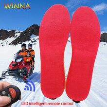 Новые стельки с подогревом, светодиодный пульт дистанционного управления, зимние уличные спортивные теплые стельки для ног с электрическим подогревом, тепловые колодки для обуви, вставки для подушек