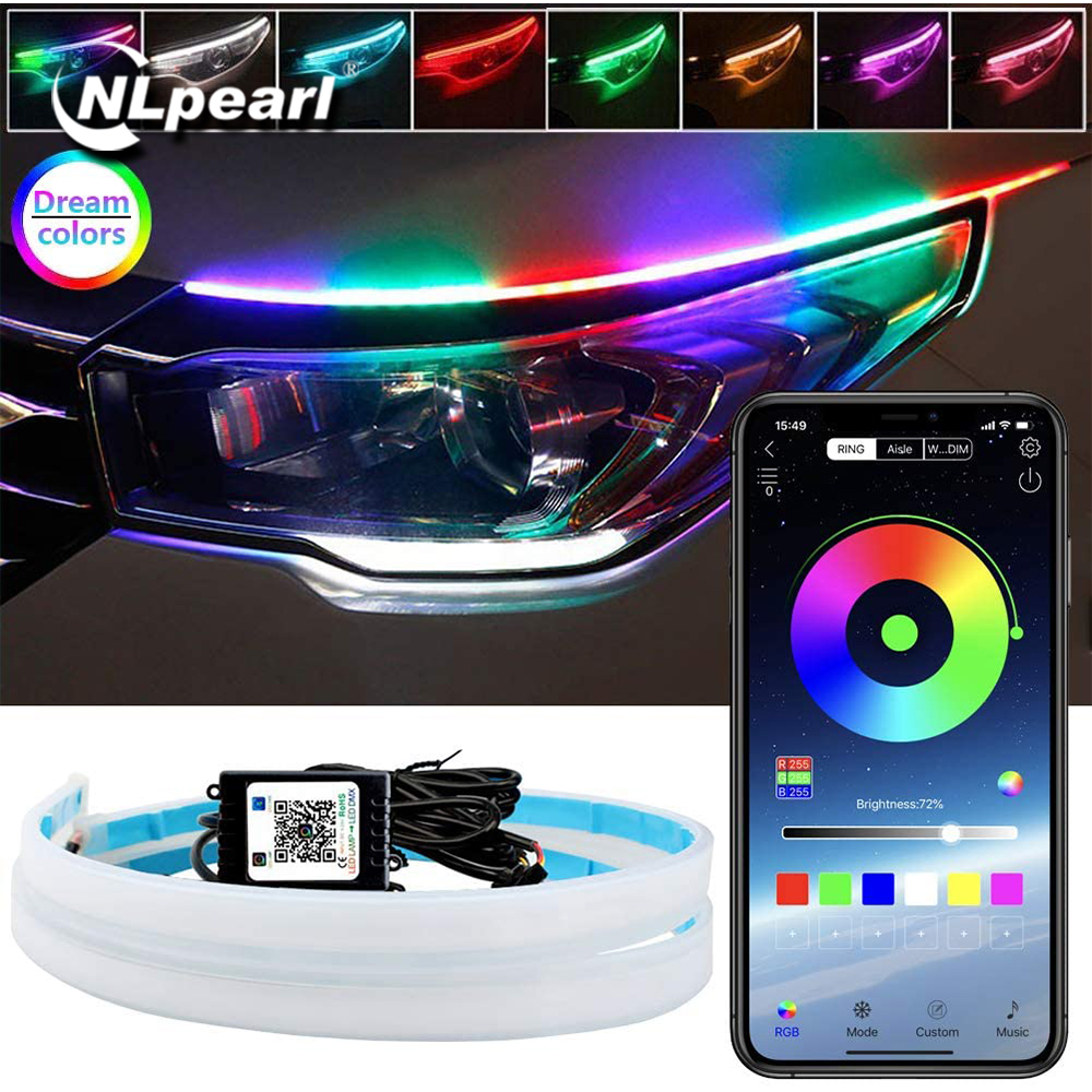 NLpearl 2x Neon Flowing DRL LED Strip Turn Signal Lamp App Remote RGB Flexible DRL LED Daytime Running Lights for Car Headlights